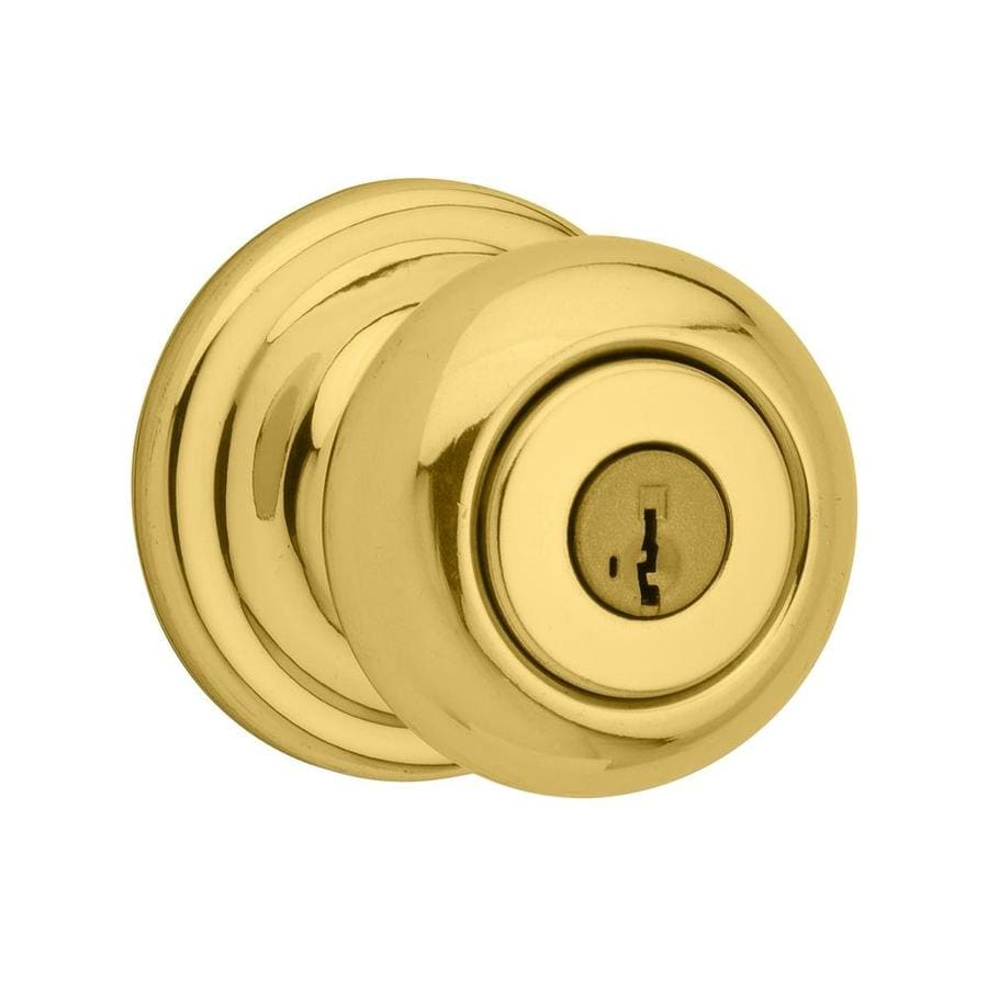 Shop Kwikset Signature Juno Smartkey Polished Brass Round Keyed Entry Door Kn