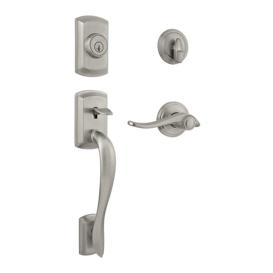 Kwikset Signature Avalon SmartKey Satin Nickel Single-Lock Keyed Entry Door Handleset