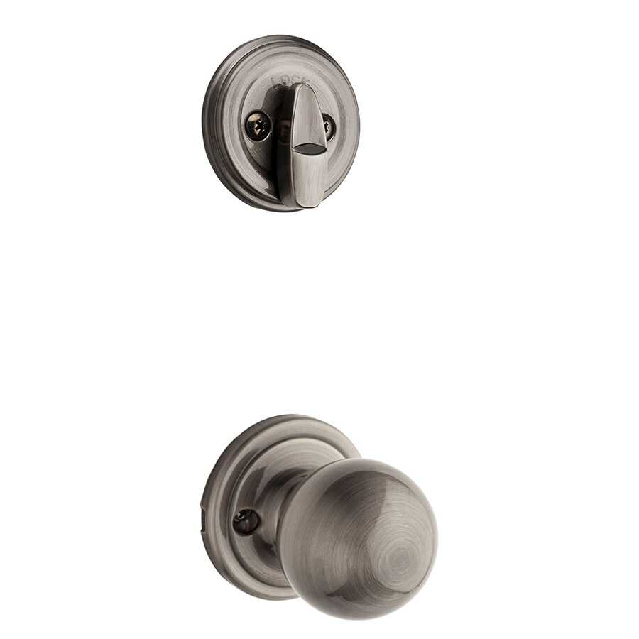 Kwikset Circa 1-3/4-in Antique Nickel Single Cylinder Knob Entry Door Interior Handle