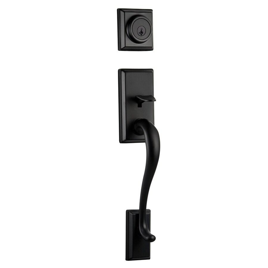 Kwikset Hawthorne Adjustable Iron Black Entry Door Exterior Handle