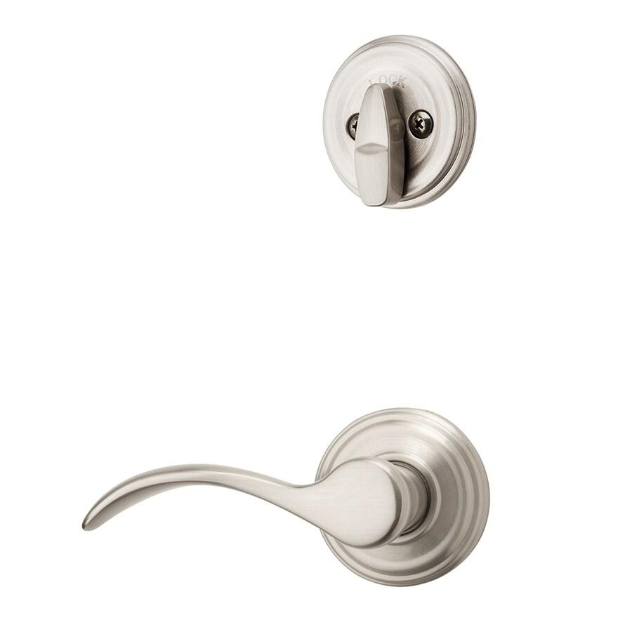 Kwikset Pembroke 1-3/4-in Satin Nickel Single Cylinder Lever Entry Door Interior Handle