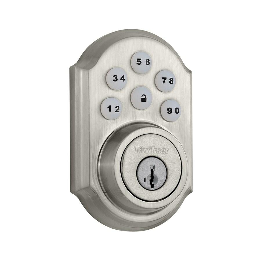 Kwikset SmartCode SmartKey Satin Nickel Single-Cylinder Motorized Electronic Entry Door Deadbolt with Keypad