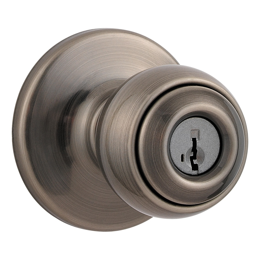 Kwikset Signature Circa Smartkey Antique Nickel Round Keyed Entry Door Knob