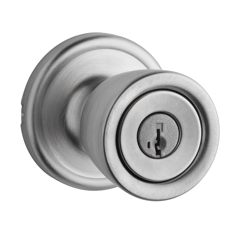 Kwikset Signature Abbey Smartkey Satin Chrome Round Keyed Entry Door Knob