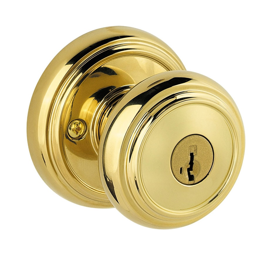 Kwikset Alcott Smartkey Lifetime Polished Brass Mushroom Keyed Entry Door Knob