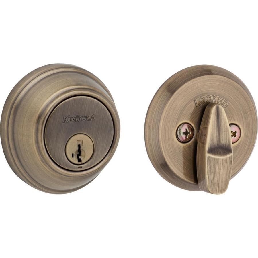 Kwikset Key Control SmartKey Antique Brass Single-Cylinder Deadbolt