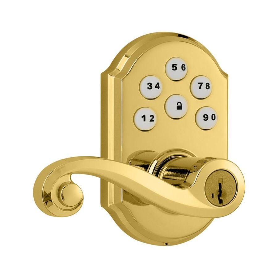 Kwikset SmartCode Lifetime Polished Brass Electronic Entry Door Lever (Works with Iris)