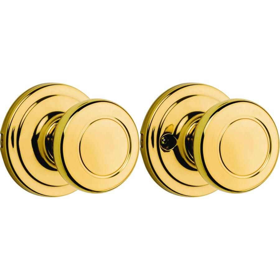 Kwikset Cameron Polished Brass Round Passage Door Knob