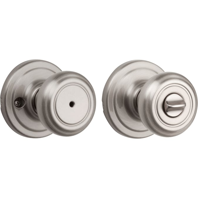 Kwikset Kwikset Signatures Cameron Satin Nickel Privacy Door Knob In The Door Knobs Department At Lowes Com