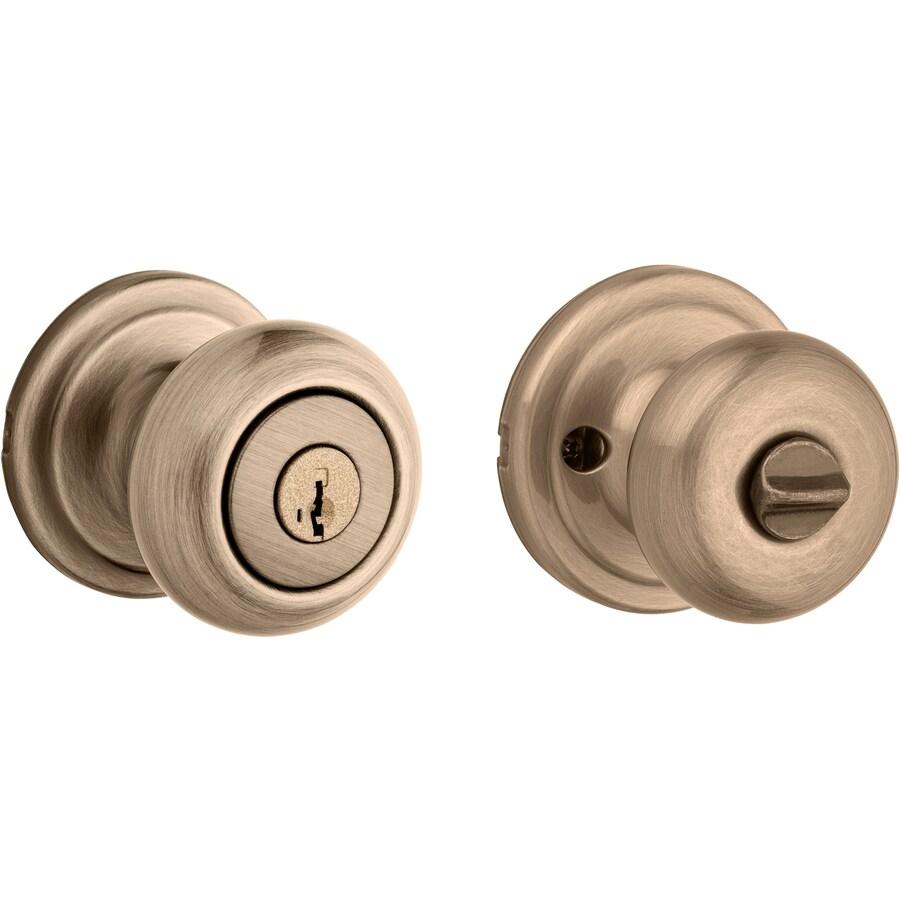 Kwikset Signature Juno Smartkey Antique Brass Round Keyed Entry Door Knob