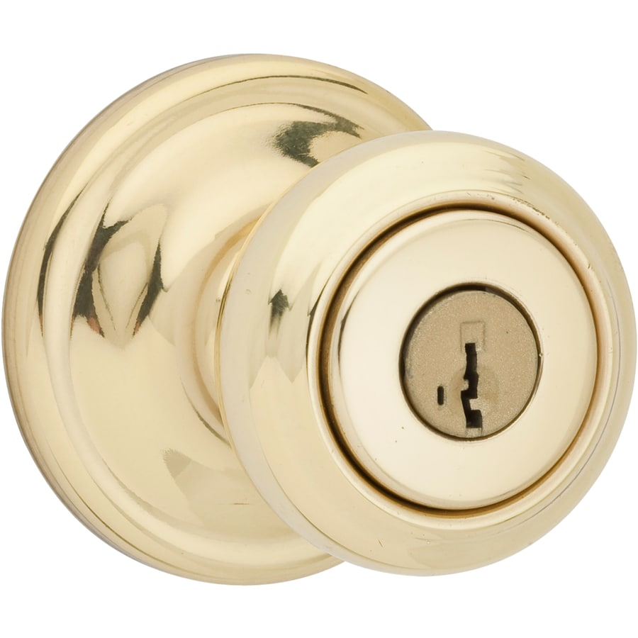 Shop kwikset cameron smartkey polished brass mushroom for Exterior door knobs