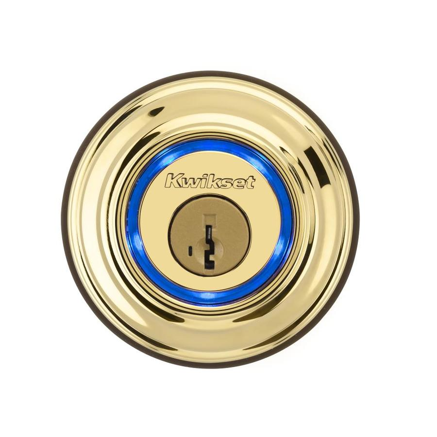 Kwikset Kevo SmartKey Lifetime Polished Brass Single-Cylinder Motorized Electronic Entry Door Deadbolt