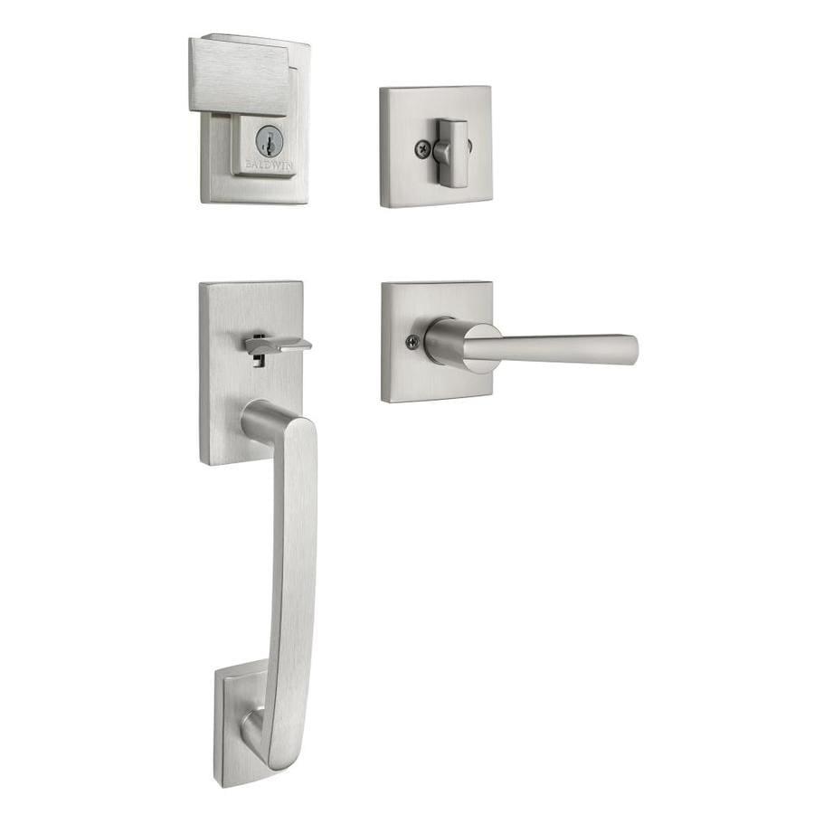 BALDWIN Prestige Spyglass SmartKey Satin Nickel Single-Lock Keyed Entry Door Handleset