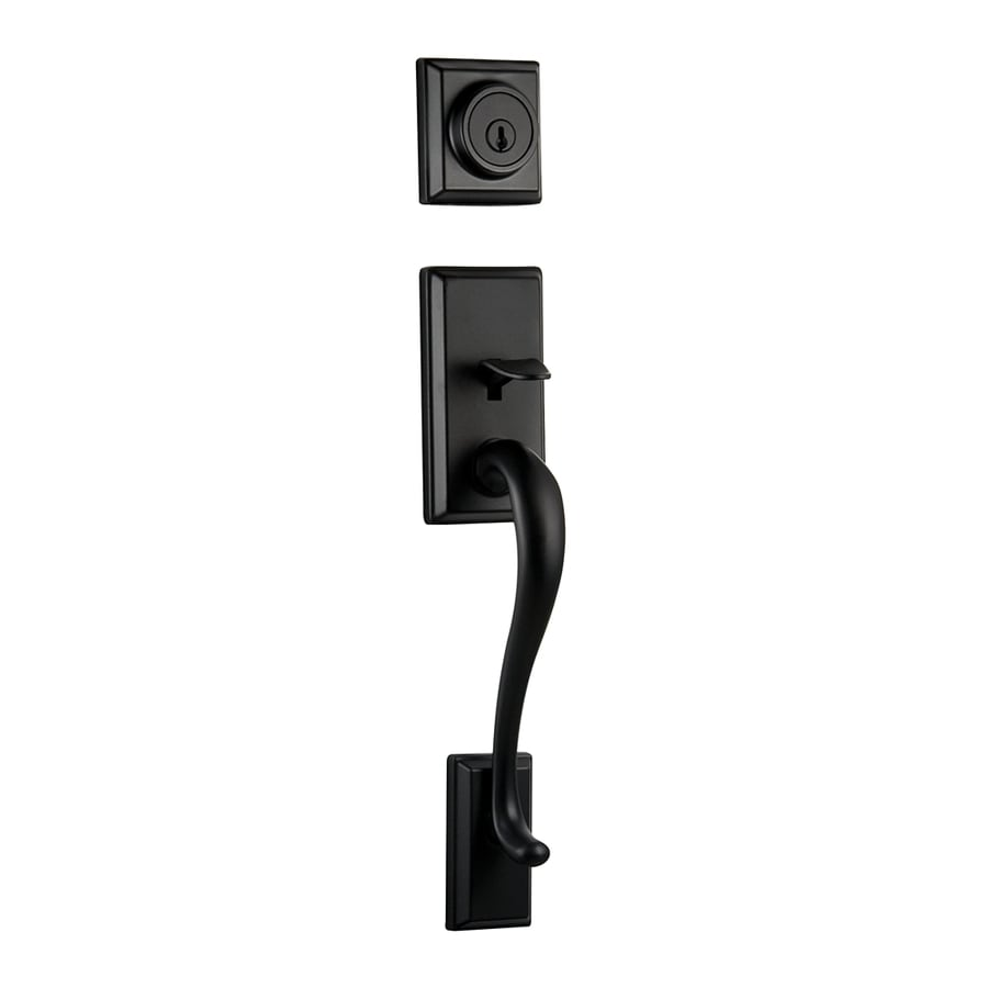 Kwikset Hawthorne Adjustable Iron Black Entry Door Exterior Handle