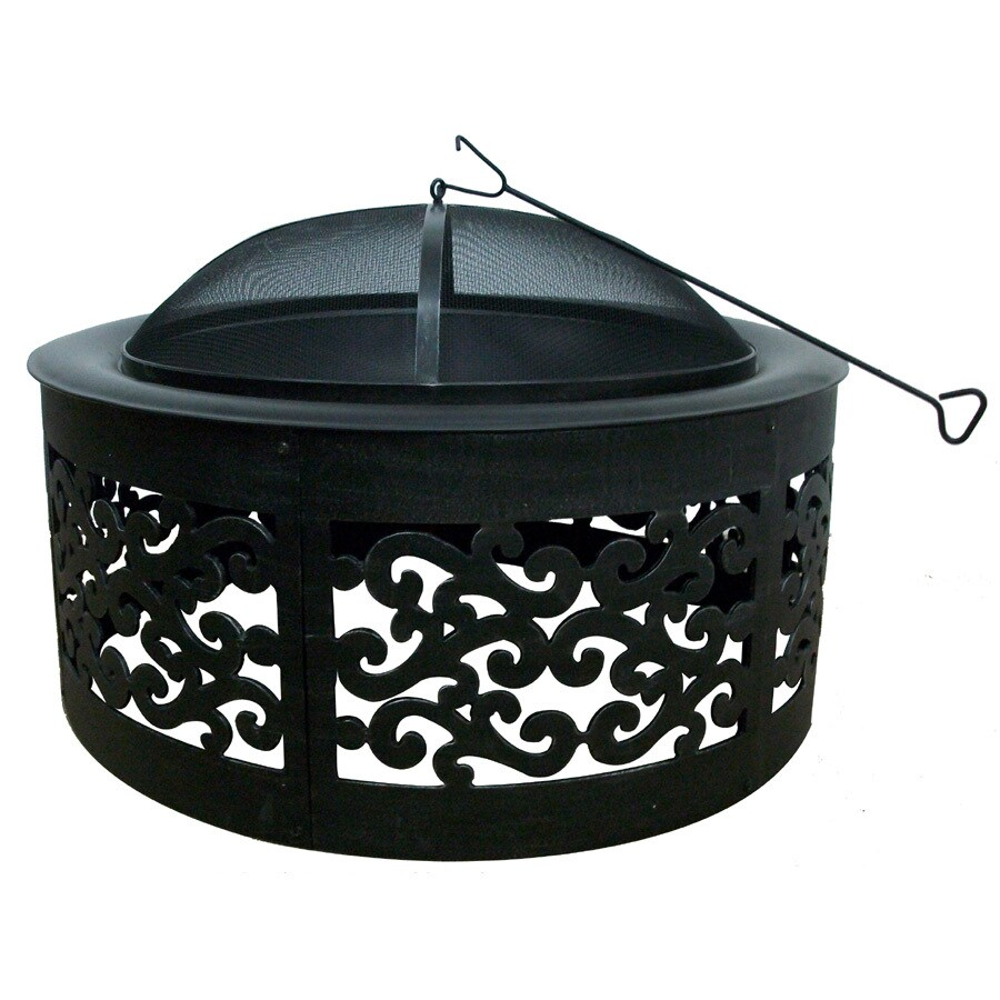 35-in W Black with Silver Brushed Steel Wood-Burning Firepit