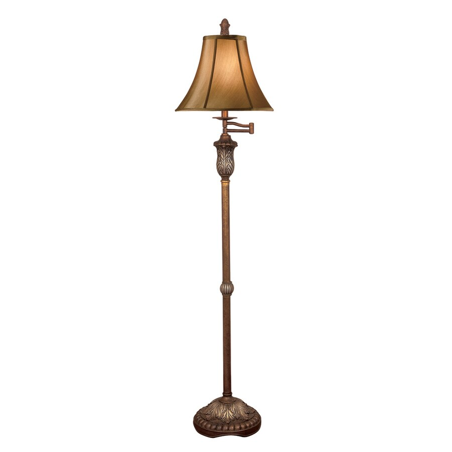 Absolute Decor 60-in Gun Metal Accented with Lead Crystal Indoor Floor Lamp with Fabric Shade