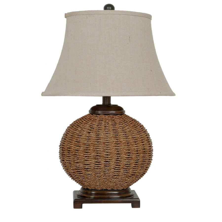 Absolute Decor 29.5-in 3-Way Wicker Indoor Table Lamp with Fabric Shade
