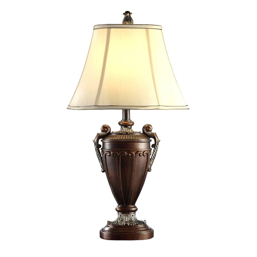 Absolute Decor 29.5-in Gold and Silver Indoor Table Lamp with Fabric Shade