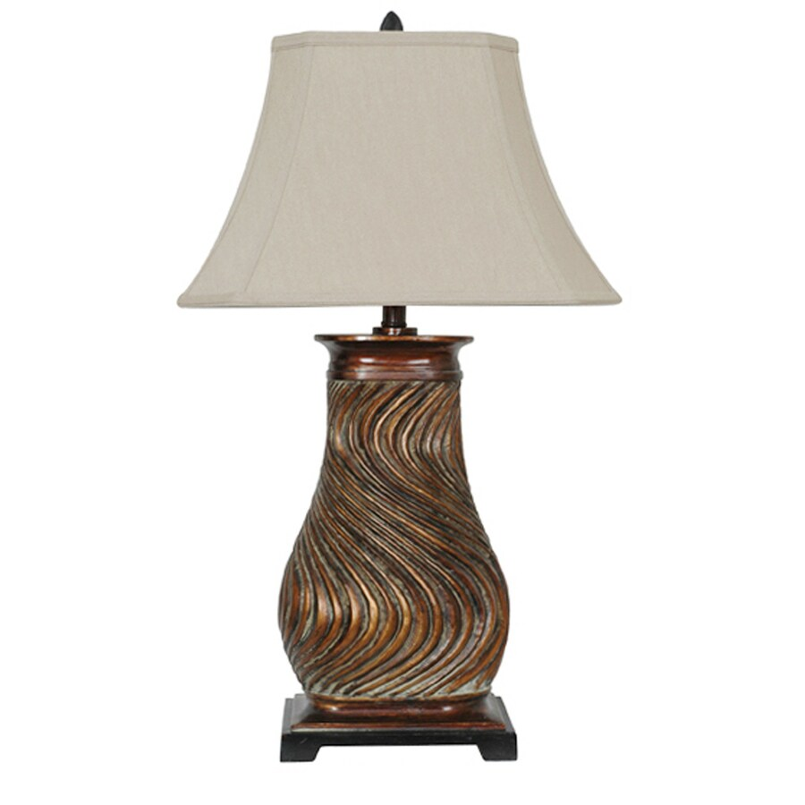 Absolute Decor 32-in 3-Way Gold Indoor Table Lamp with Fabric Shade