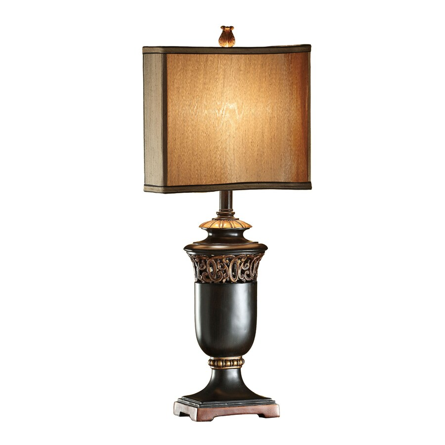 Absolute Decor 29.75-in 3-Way Black and Gold Indoor Table Lamp with Fabric Shade