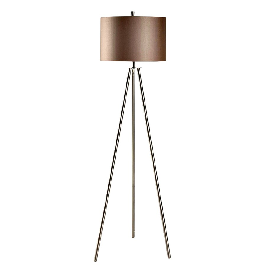 Absolute Decor 60-in Brushed Nickel Finish Indoor Floor Lamp with Fabric Shade