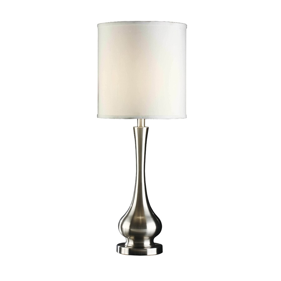 Absolute Decor 31.75-in 3-Way Brushed Nickel Indoor Table Lamp with Fabric Shade