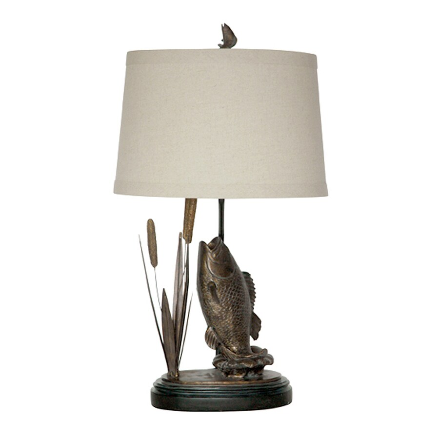 Absolute Decor 29-in 3-Way Burnished Bronze Indoor Table Lamp with Fabric Shade