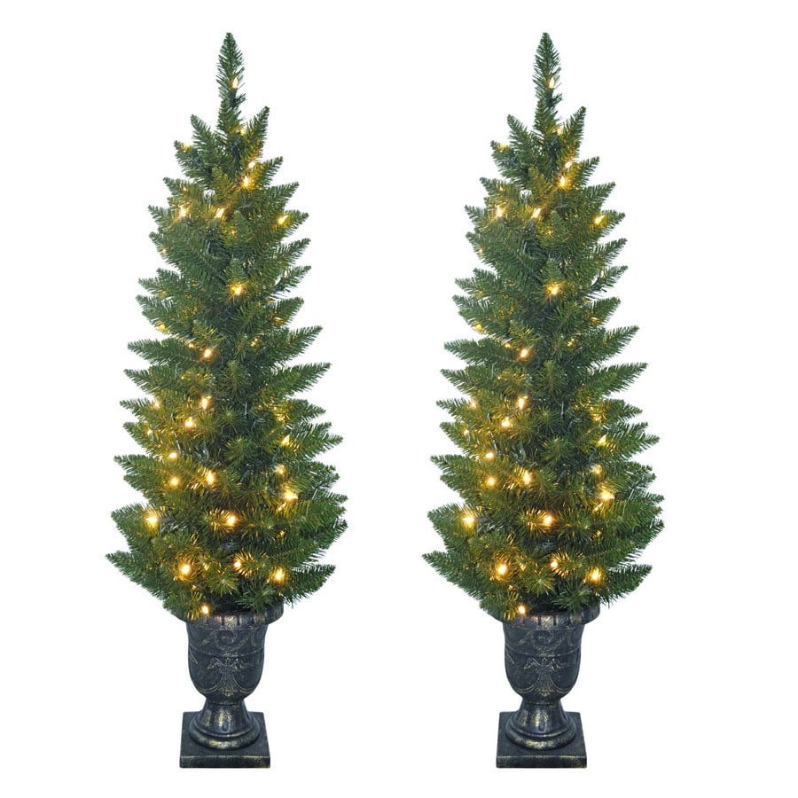 SYLVANIA 2-Pack 4-ft Outdoor Pine Pre-Lit Decorative Artificial Tree with 100-Count Clear Incandescent Lights