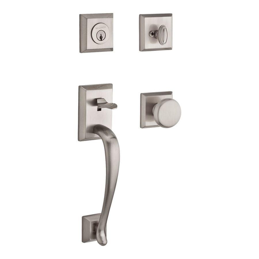 Satin Nickel Front Door Handleset For Entrance Round Knob free shipping
