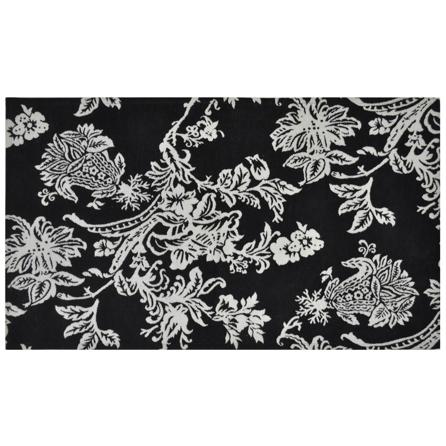 Style Selections Black Rectangular Indoor Woven Throw Rug (Common: 2 x 4; Actual: 30-in W x 50-in L)