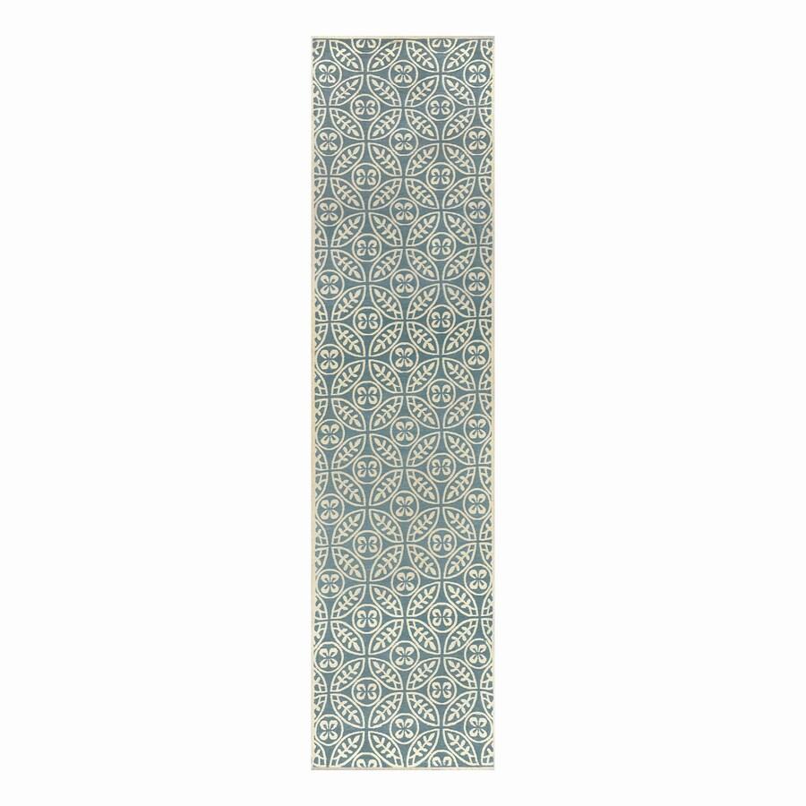 allen + roth Blue Rectangular Indoor Woven Runner (Common: 2 x 8; Actual: 24-in W x 96-in L)
