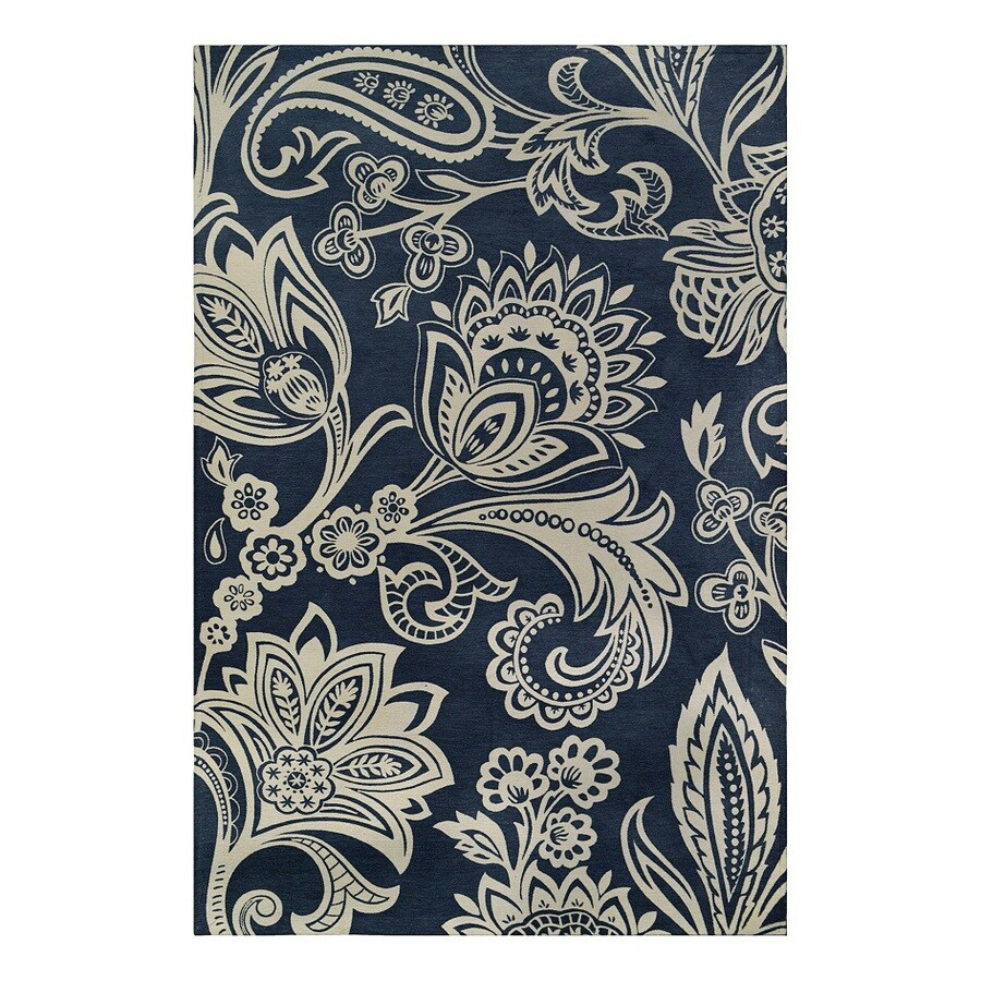 allen + roth Ellesmore Dusty Indigo Rectangular Indoor Woven Area Rug (Common: 9 x 12; Actual: 108-in W x 144-in L)