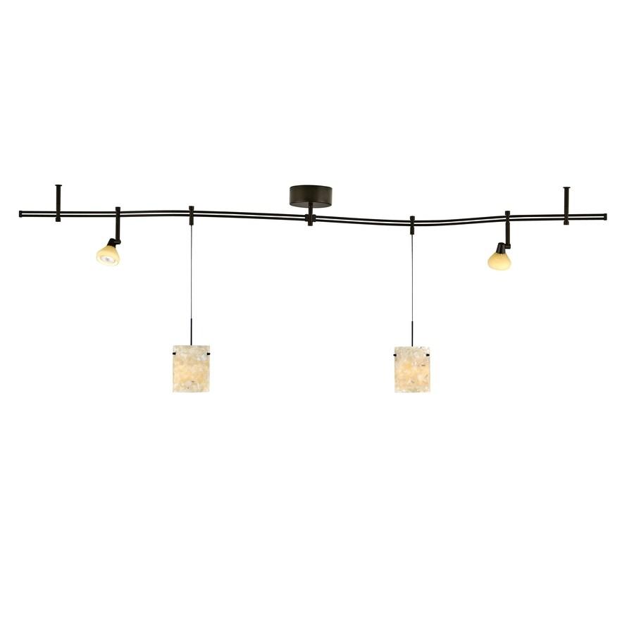tiella 4-Light Bronze Decorative Flexible Track Light with Latte Glass