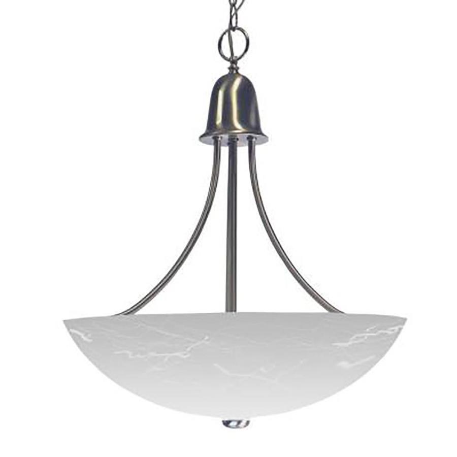Khaleesi 18-in Satin Chrome Single Marbleized Glass Pendant