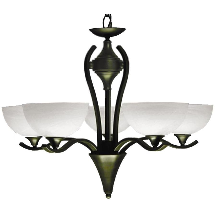 Khaleesi 28-in 5-Light Satin Chrome Alabaster Glass Candle Chandelier