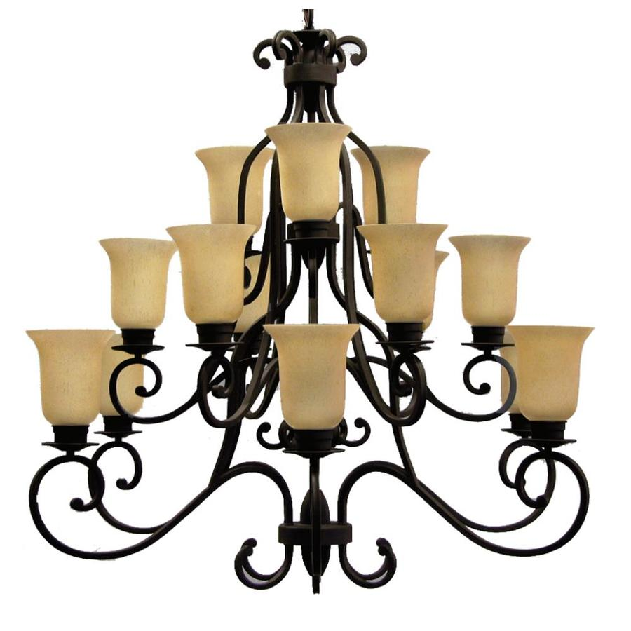 Khaleesi 48-in 15-Light Golden Bronze Tinted Glass Candle Chandelier