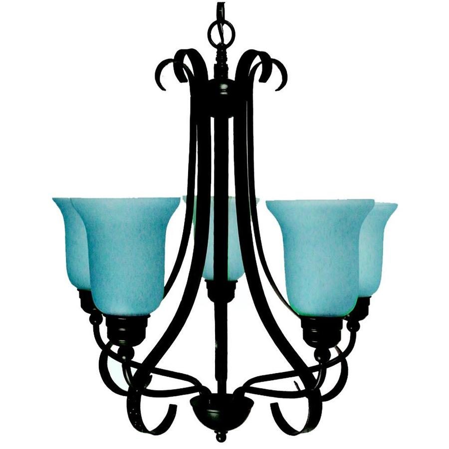 Khaleesi 27-in 5-Light Old English Bronze Tinted Glass Candle Chandelier
