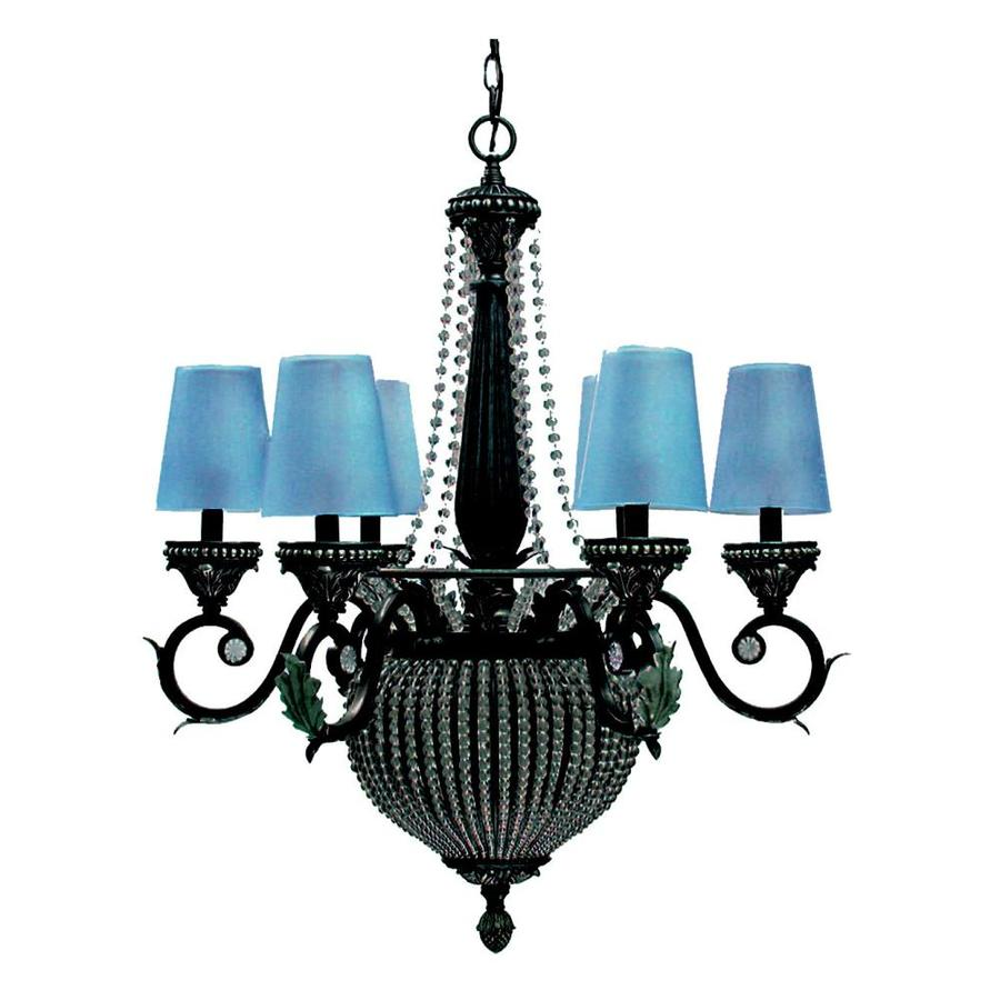 Khaleesi 26-in 8-Light Antique Brass Silver Tinted Glass Candle Chandelier