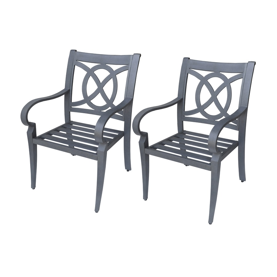 allen + roth Set Of 2 Newstead Gray Textured Slat Seat Aluminum Patio Dining Chairs