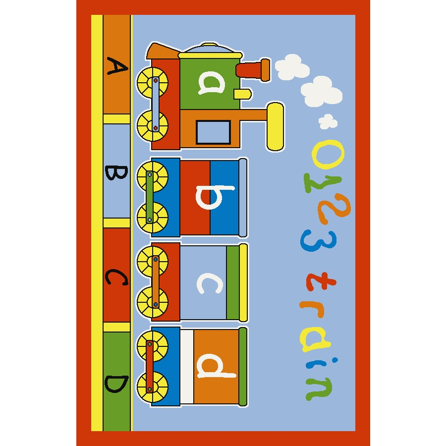 Concord Global Abc Train Multicolor Rectangular Indoor Tufted Kids Area Rug (Common: 4 x 6; Actual: 53-in W x 73-in L x 4.42-ft Dia)