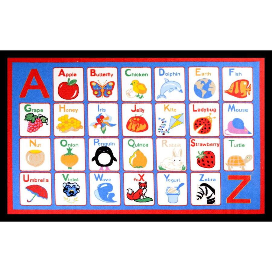 Concord Global Alphabet Multicolor Rectangular Indoor Tufted Kids Throw Rug (Common: 3 x 5; Actual: 39-in W x 55-in L x 3.25-ft Dia)