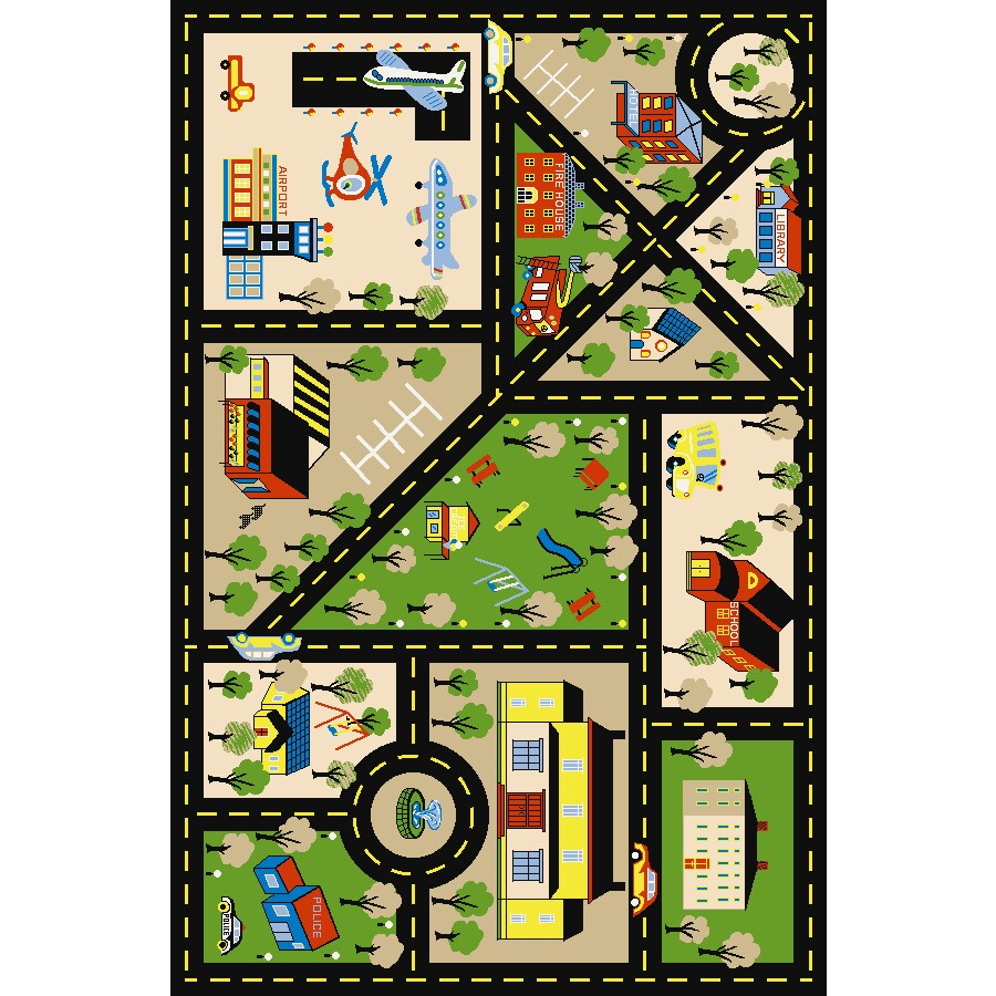Concord Global City Center Multicolor Rectangular Indoor Tufted Kids Throw Rug (Common: 3 x 5; Actual: 39-in W x 55-in L x 3.25-ft Dia)