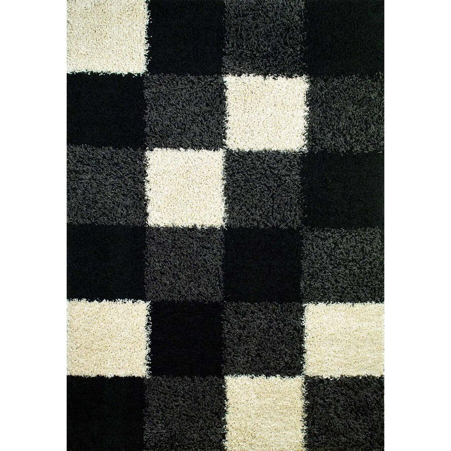 Concord Global Moderno Black Rectangular Indoor Woven Area Rug (Common: 7 x 9; Actual: 79-in W x 111-in L x 6.58-ft Dia)