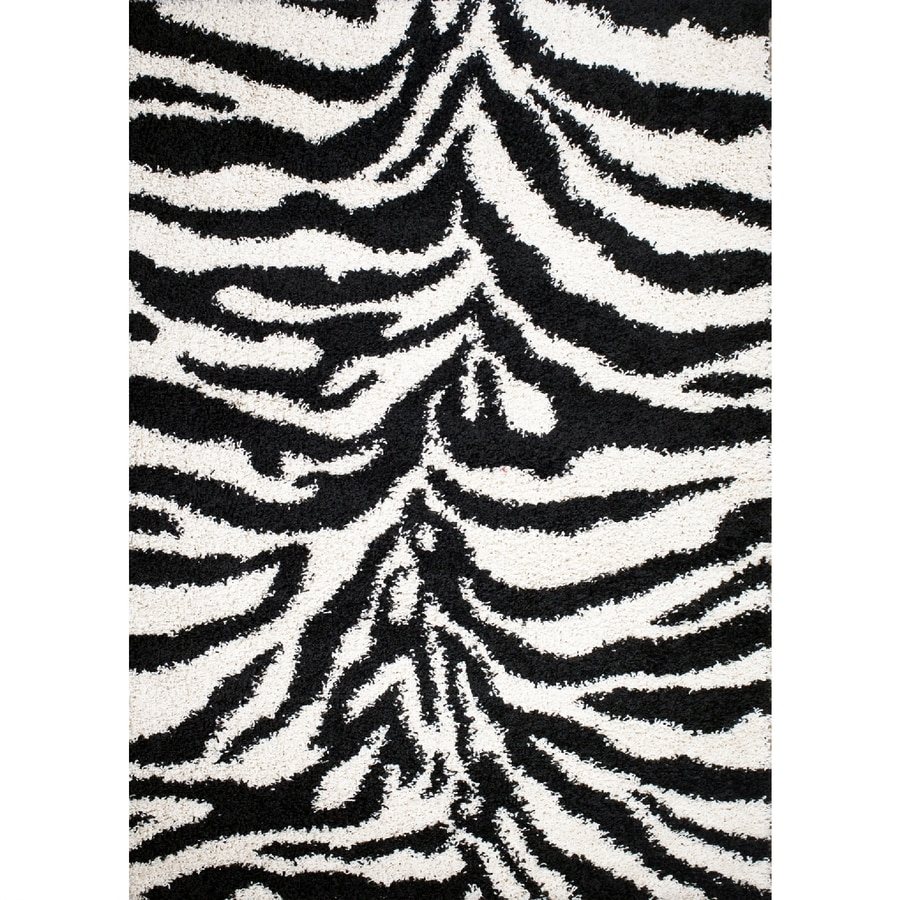 Concord Global Moderno Black Rectangular Indoor Woven Animals Throw Rug (Common: 3 x 5; Actual: 39-in W x 55-in L x 3.25-ft Dia)