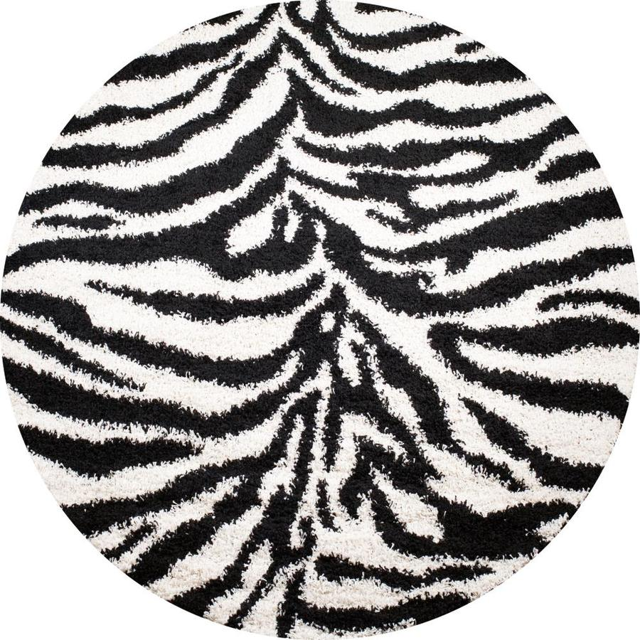 Concord Global Moderno Black Round Indoor Woven Animals Area Rug (Common: 7 x 7; Actual: 79-in W x 79-in L x 6.58-ft Dia)