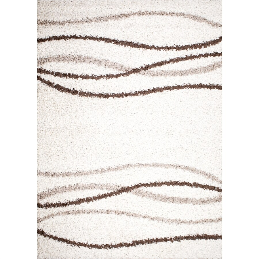 Concord Global Moderno Cream Rectangular Indoor Woven Throw Rug (Common: 3 x 5; Actual: 39-in W x 55-in L x 3.25-ft Dia)