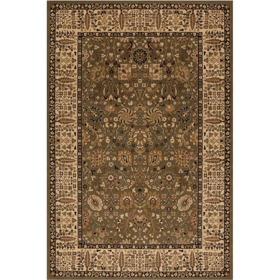 Concord Global Dynasty Green Rectangular Indoor Woven Oriental Area Rug (Common: 5 x 8; Actual: 63-in W x 91-in L x 5.25-ft Dia)
