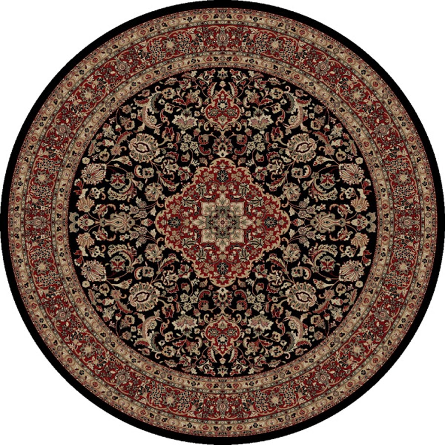 Concord Global Dynasty Black Round Indoor Woven Oriental Area Rug (Common: 8 x 8; Actual: 94-in W x 94-in L x 7.83-ft Dia)