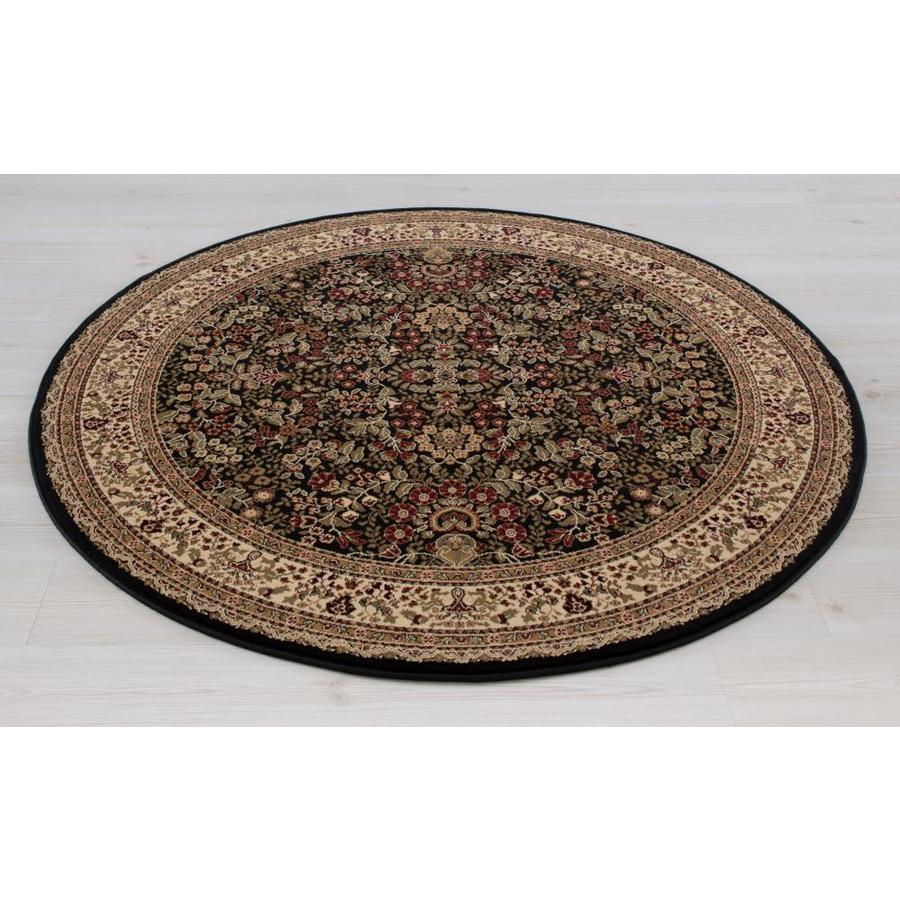 Concord Global Dynasty Black Round Indoor Woven Oriental Area Rug (Common: 5 x 5; Actual: 63-in W x 63-in L x 5.25-ft Dia)