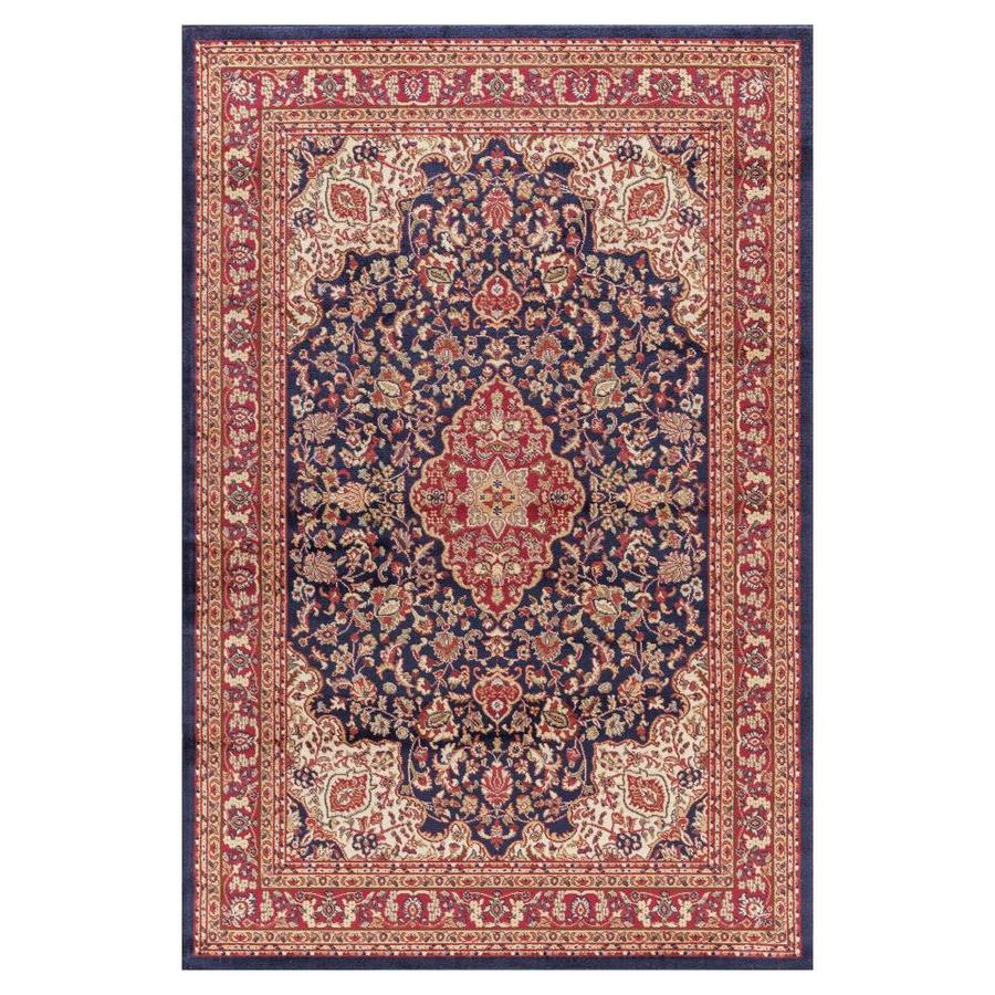 Concord Global Valencia Navy Rectangular Indoor Woven Oriental Area Rug (Common: 7 x 10; Actual: 79-in W x 111-in L x 6.58-ft Dia)